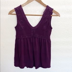 Mudd Purple Floral Detail Tank Top